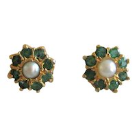 Petite Emerald and Cultured Pearl Earrings in a Gold Plated Setting - Posts