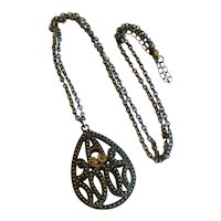 Openwork Teardrop Pendant Necklace with an Arabesque Design