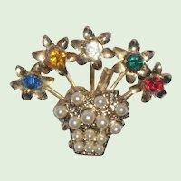 1940's Rhinestone Flower Pot Pin or Brooch