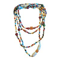 "60"" Necklace of Mixed Glass Beads"