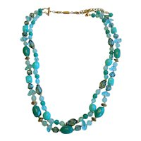 1960's Double Strand Aqua Bead Necklace