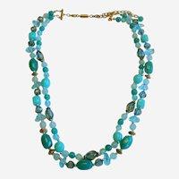 1960's Double Strand Aqua Bead Necklace