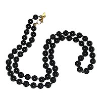Monet Black Glass Hand-knotted Necklace with Patented Clasp - 18""