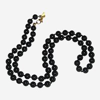 """Monet Black Glass Hand-knotted Necklace with Patented Clasp - 18"""""""