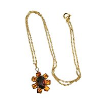 """Topaz Colored Rhinestone Pendant on 16"""" Gold-Plated Chain"""