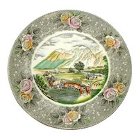 Adams Currier Transferware Plate - The Rocky Mountains - Wild Rose Border