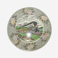 "Adams Currier Transferware Plate - ""American Express Train"" - Wild Rose Border"