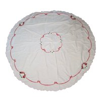 """Embroidered Christmas Rose Tablecloth - 64"""" Round"""