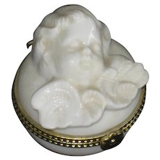 Sleeping Cherub Angel Porcelain Trinket Box