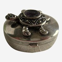 Sterling Silver Turtle Pill Box with Amethyst and Marcasites