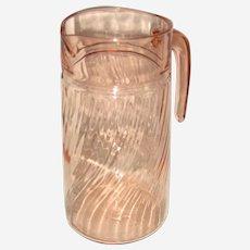 Arococ France Rosaline Pink Swirl Glass Pitcher
