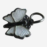 Aksel Holmsen Petite White Guilloche Enamel Sterling Butterfly Charm