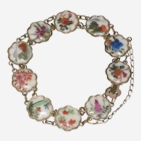 Japanese Hand Painted Satsuma Bracelet with Floral Design