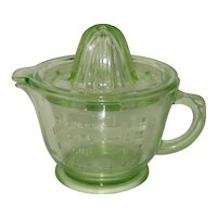 Anchor Hocking Green Depression Glass Reamer with Measuring Cup