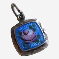 H.F. Barrows Petite Blue Guilloche Charm or Pendant