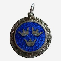 Swedish Coat of Arms Charm - Blue Guilloche Enamel on Sterling Silver