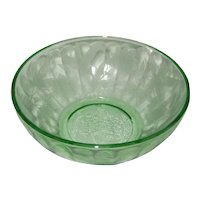Jeanette Green Depression Glass Bowl - Poinsettia Pattern