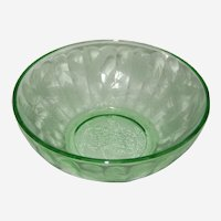 Jeanette Green Depression Glass Bowl - Poinsettia Pattern