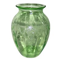 Anchor Hocking Cameo or Ballerina Green Depression Glass Vase
