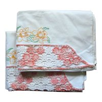 Pair of Pillowcases with Embroidered Daffodils and Crochet Trim