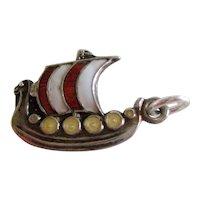 Sterling Silver and Enamel Swedish Norwegian Scandinavian Viking Ship Charm