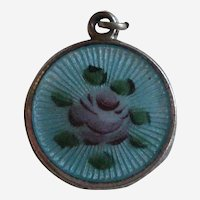 Light Blue Guilloche Charm with Pink Rose