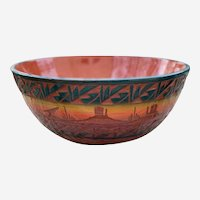 Large Red Earth Mesa Verde Pottery Bowl - Native American, Signed with COA