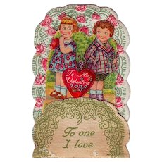 Petite 1920's German Folding Stand-Up Valentine - Shy Children - To One I Love