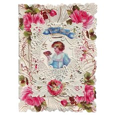 Cupid's Message - Large Die-Cut and Paper Lace Valentine Circa 1910