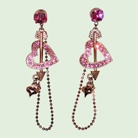 Pink Rhinestone Heart Chain Hoop Earrings