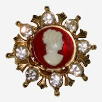 1940's Lucite and Gold-tone Cameo Pin with Rhinestones