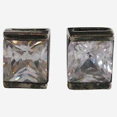 Princess Cut Cubic Zirconia Post Earrings - Sterling Setting