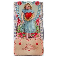Pop-up or Stand-up Valentine - Girl in a Blue Dress