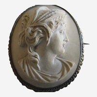 Lava Cameo Brooch of the Goddess Demeter in Original Box - Circa 1870