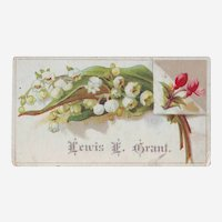 Victorian Calling Card with Lily of the Valley