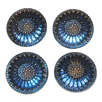 Set of Four Large Iridescent Cobalt Blue Czech Glass Buttons