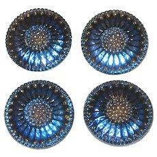 Set of Four Large Iridescent Cobalt Blue Czech Glass Buttons