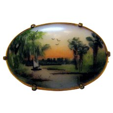 Olive Commons Signed Handpainted 1920's Florida  Cameona Pin or Brooch