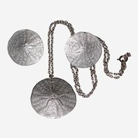 Pewter Sand Dollar Pendant Necklace and Pierced Earrings
