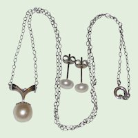 Delicate Cultured Pearl Pendant Necklace and Earring Set  - Sterling Setting and Chain