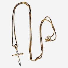 "14K Gold Cross Pendant with Diamond - 18"" Box Chain"