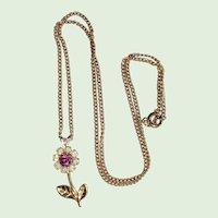 Gold-tone and Rhinestone Daisy Flower Pendant Necklace