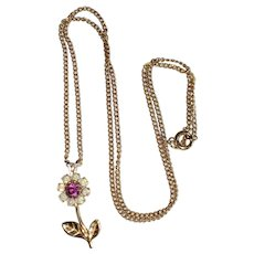 Gold-tone and Rhinestone Daisy Flower Pendant Necklace