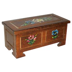 Reuge Swiss Hand Painted Wooden Music Box with Alpine Flowers