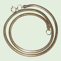 """1940's Gold-Tone Herringbone Snake Chain - 15 1/2"""""""