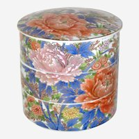 Japanese Three Tier Porcelain Stacking Box with Peonies
