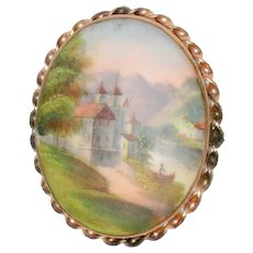 Victorian Hand Painted Porcelain Brooch with Chillon Castle