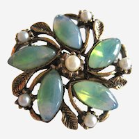 Aqua Glass Flower Pin with Costume Pearls