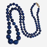 Cobalt Blue Ceramic Graduated Bead Necklace with 14K Gold Clasp