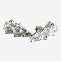 1950's Crystal Rhinestone Screw Back Earrings